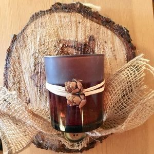 SET OF TWO HANDCRAFTED RUSTIC VOTIVE CANDLE HOLDER
